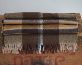 Pure wool Eaton's scarf brown mustard creme natural earthy tone made in West Germany
