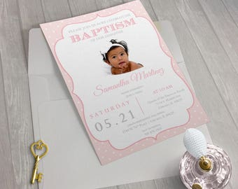 Baptism Invitation Girl Pink Ornate Photo - PRINTED