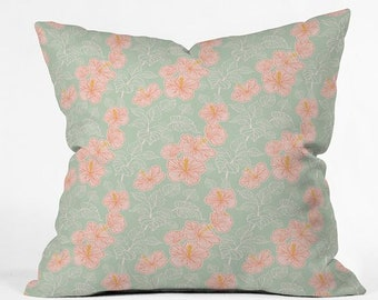 Dreamy Pink Green Hibiscus Decorative Pillow Throw Cushion, Whimsical Spring Girls Bedroom, Mother's Day Gift Bedroom Decor Gift for Mum