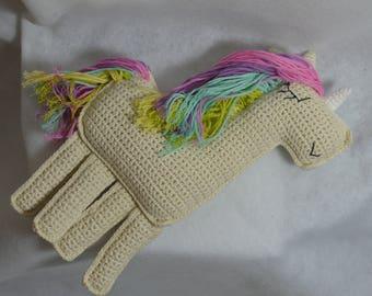 "Cuddly plush ""Unicorn"" flat Unicorn crocheted in cotton"