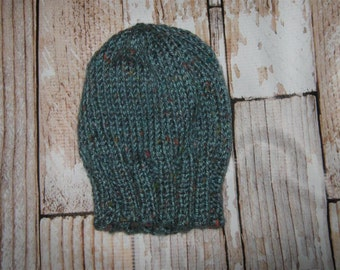 hand knit baby hat  - size 0 - 3 months - blue tweed