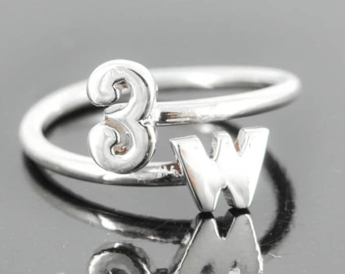 initial ring, heart ring, adjustable ring, alphabet ring, letter ring, personalized ring, sterling silver ring, number ring, monogram ring