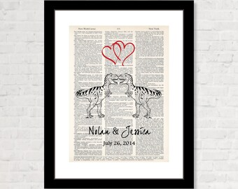 T Rex Dinosaur Couple with Name and Date Wedding, Shower, Anniversary, Couples Gift, Valentines Day Gift Dictionary Art Print Tyrannosaurus
