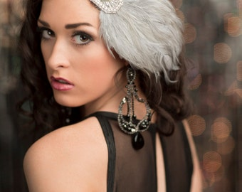 Gatsby Silver Headpiece, Gray Feather Flapper Headband, Women's Accessories