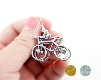 Lovely Bike Earrings - Antiqued Silver Plated or Antiqued Brass Vintage Style Bicycle Bike Dangle Earrings - Gifts Ideas - CP084/CP112