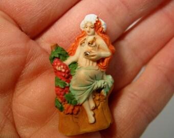 Alphonse MUCHA BEAUTIES Art Nouveau Autumn - French Feve Feves Figurines Miniatures M70