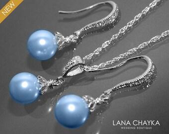 Light Blue Pearl Jewelry Set Swarovski 8mm Pearl Earrings&Necklace Wedding Set Small Light Blue Drop Pearl Bridal Set Bridesmaids Jewelry