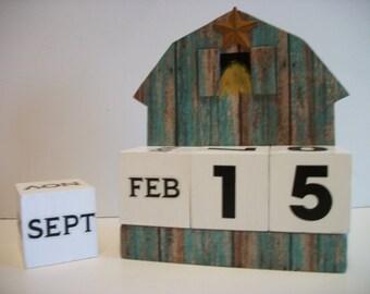 Barn Calendar Perpetual Wood Block Country Farm Green Barn Decor