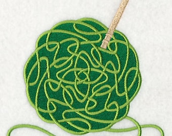 Celtic Knotwork Crochet Yarn and Needles Embroidered Flour Sack Hand/Dish Towel