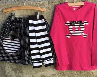 Girls, Pirate Princess, Skull Shirt, Skirt and Leg Warmer Set - Perfect for Halloween - Fun for Costume or Birthday Parties - Great Gift