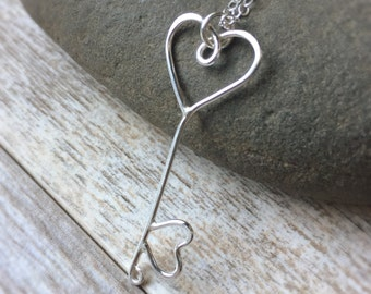 Silver Heart Key Sterling Heart Pendant Heart Key Jewelry Sterling Silver Jewelry Heart Jewelry Heart Pendant Key Pendant Dainty Heart