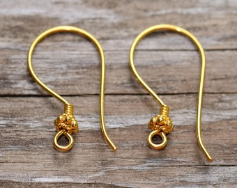 Bali Vermeil Earwires 22x11.5mm Daisy Spacer Earwires Low Shipping