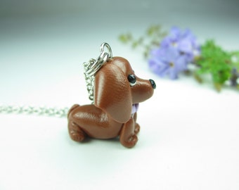 Red Dachshund keychain, Dachshund gift, miniature animal dog lover gift, dog gift, key chain, key ring, cute, polymer clay, brown dog charm