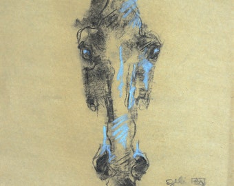 Horse Head Charcoal Sketch, Equine Art, Contemporary Fine Art, Animal drawing