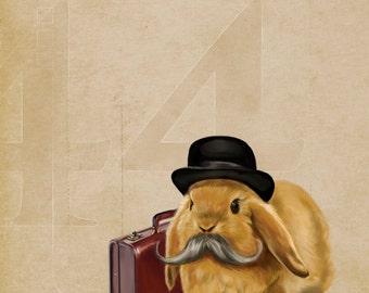 Cute bunny mustache art print // pigment print, archival, 11x14 // bunny with mustache and briefcase, kids room art, geeky gift