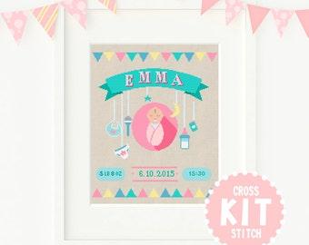 Welcome Baby Cross Stitch KIT,  Baby Girl Cross Stitch Kit, Customisable Cross Stitch Kit, Custom Cross Stitch Kit, Nursery Cross Stitch