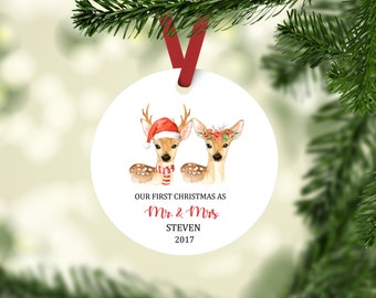 First Christmas Married Ornament, Newlywed Ornament, Newlywed First Christmas, Mr and Mrs ornament, Buck and Doe Deer Ornament,  Our First