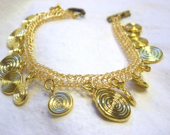 Gold Viking Knit Coin Anklet
