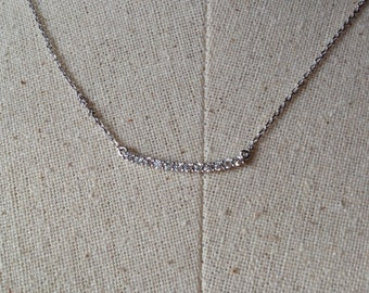 Pavé Bar Necklace in Silver, Dainty Bar Necklace