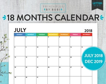 2018 - 2019 Calendar Printable, 2018 - 2019 Printable Calendar, Monthly Calendar, Monthly Planner, 2018 - 2019 Wall Calendar