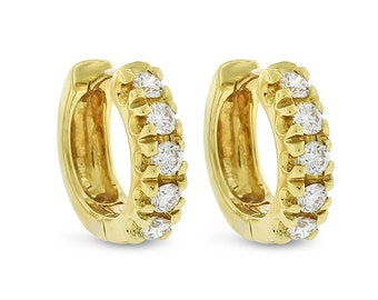 0.50 CT Natural Diamond Round Huggie Earrings in Solid 18k Yellow Gold