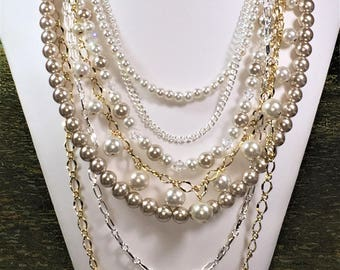 Pearls and Chains  Necklace - Interchangable Muli Strand Pearl Necklace - Pearls, Removable  - Statement Piece, Custom, Made to Order