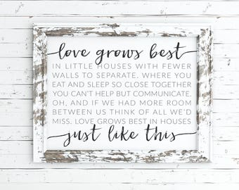 love grows best in little houses printable, little houses sign, love grows best art, love grows best sign, little houses quote, print, sign