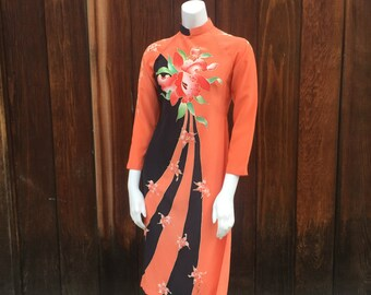 Silk Orchid Print Cheongsam Tunic