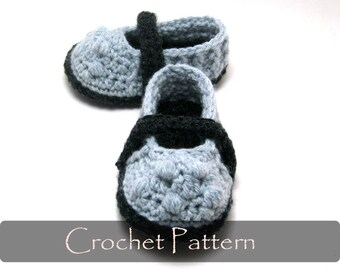 CROCHET PATTERN - Lilly Mary Jane Style Baby Slippers Crochet Pattern House Sandals Baby Girl Booties Shoes Pattern 0-12 months PDF - P0047