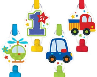 8 Ct Package Adorable Paper Party Blowouts - Colorful All Aboard Transportation Theme - Birthday Boy - 1st Birthday