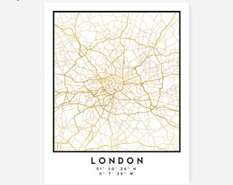 London Map Coordinates Print - United Kingdom City Street Map Art Poster, Gold London Map Print, London England Coordinates Gold Poster Map