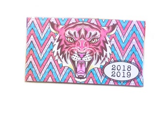 2018 - 2019 pocket planner - Pink Tiger chevron - monthly planner - mini planner - calendar - pink and turquoise snarling tiger head circus