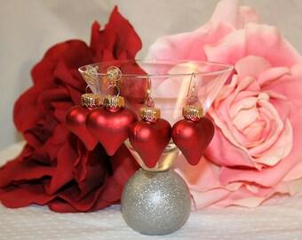 Valentines Red Heart Earrings Heart Ornament Earrings Valentines Day Earrings Heart Earrings