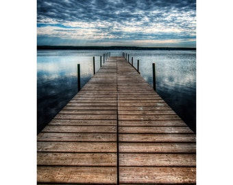 Stormy Dock Print, Water, Lake, Storm, Dock, Waterscape, Landscape Photograph, Nature, Fine Art Photography, 5x7, 8x10, 11x14