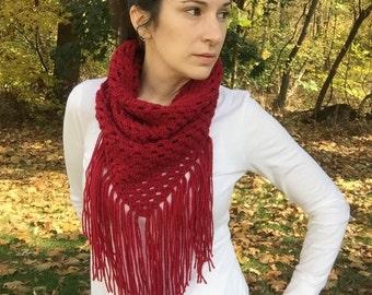 crochet boho scarf pattern, crochet triangle scarf pattern, crochet scarf pattern, easy crochet cowl pattern, crochet fringe cowl pattern