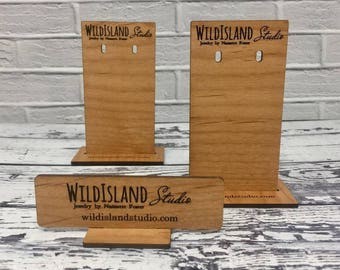 Custom Wood Earring Display Stands | Stands with Cards |  Logo or Name Mini Display | Customized Jewelry Display