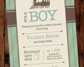 Train Invitation, Train Invite, Train Baby Shower Invitation, Vintage Train Invitations, Choo Choo Invitation, Train Up a Child,