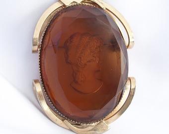 Vintage Intaglio Amber Glass  Brooch by Juliana Vintage Retro 1960s Jewelry