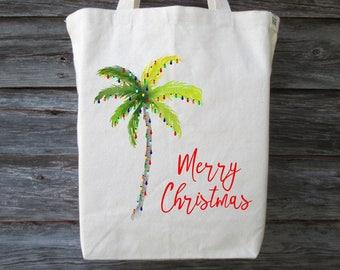 Christmas Palm Tree Tote, Christmas Tote, Florida Christmas Tote, Palm Tree Tote, Hawaii Christmas Tote, Christmas Lights on a Palm Tree