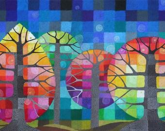GRAND jardin avec les lucioles j'ai impression d'art, arbres géométriques arc en ciel avec des détails peint à la main