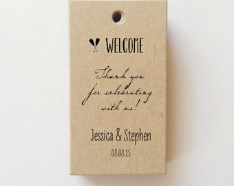 Mini Wedding Welcome Tags Favor Tags Thank you for celebrating with us Welcome Bag Tag (25+) CHECK SIZE