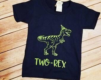 TWO-Rex Toddler/Youth Dinosaur Birthday Shirt