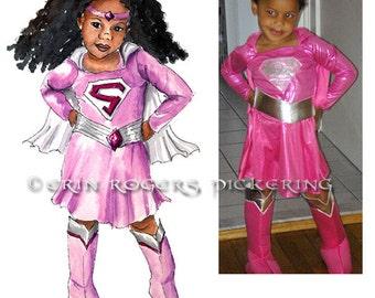 Custom Character or Super Hero watercolor Illustration of your Child 8x10 original