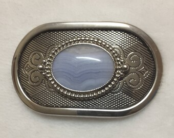 Western Belt Buckle with Polished Stone