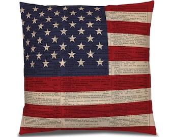American Flag Pillow Cover, Rustic Flag PIllow, Patriotic Decor, Red White Blue Room, American Decor, Living Room Decor, Stars stripes