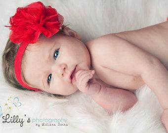 Baby Girl Headband, Valentine Headband, Red Lace Flower Headband, Baby Headband, Newborn Headband, Infant Headband, girl headband