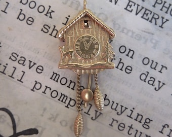 14K Yellow Gold Cuckoo Clock Charm Pendant