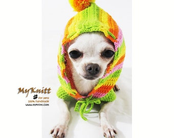 Dog Hoodie, Dog Sweater Large, Dog Clothes Small, Rasta Clothing for Dogs, Dog Pom Pom Hat, Chihuahua Clothes DK971 by Myknitt Free Shipping
