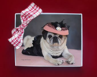 Cute Note Cards  - Pretty Pugs Note Cards - Pugs Note Cards - 4x5