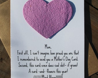 A card and flowers...mind blown- funny mother's day -  16 seed paper colors available, multiple shapes available